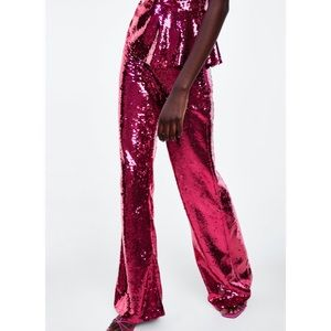 Zara Limited Edition Pink Flared Sequin Pants Sz L